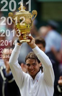 Rafael (Rafa) Nadal raises the Wimbledon men's trophy aloft in 2010,2011,2012,2013,2014,2015,2016,2017,2018,2019
